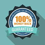 Label Sign 100% Money Back Quality in Flat Modern Design