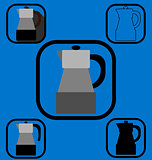 Geyser coffee maker icons set