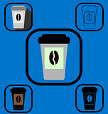 Disposable coffee cup icons set