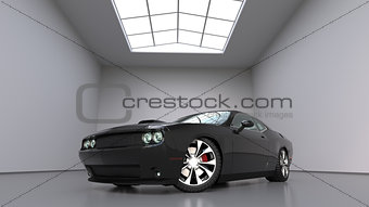 Powerful black conceptual sports car. Bright large room around.