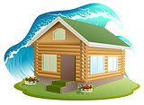 Property insurance. Wooden house was flooded with water. Flooding tsunami