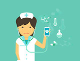 Mobile medicine illustration of female doctor and smartphone with symbols