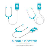 Digital health flat modern illustration of mobile medicine with smartphone and stethoscope