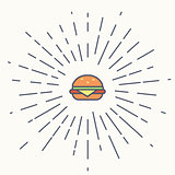 Burger vintage label in hipster style with sunburst