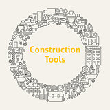 Construction Tools Line Art Icons Set Circle