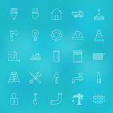 Construction Tools Line Icons Set over Blurred Background
