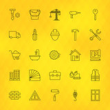 Construction Tools Line Icons Set over Polygonal Background