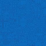 Thin Line Dark Blue Construction Seamless Pattern
