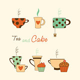 Tea and cake icon set