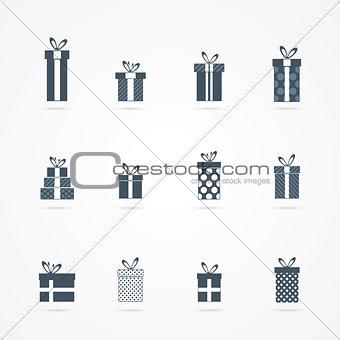 Black gift icons set