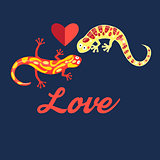 Graphic beautiful lovers salamanders