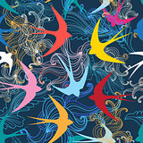 Graphic seamless pattern with colorful swallows