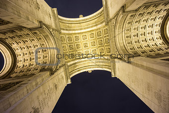 Arc de Triomphe bottom view at night