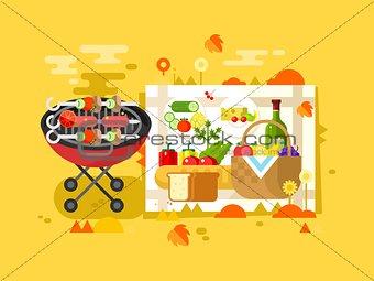 BBQ party design flat