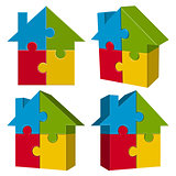 collection puzzle house with four parts