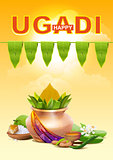 Happy Ugadi. Template greeting card for holiday Ugadi. Gold pot