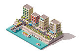 Vector isometric town street