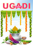 Happy Ugadi. Template greeting card for holiday Ugadi. Silver pot