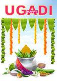 Happy Ugadi. Template greeting card for holiday Ugadi. Silver pot