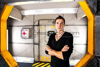 Man in concrete bunker