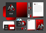 corporate style red robot technology turquoise black