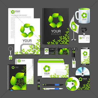 Corporate identity design vector Sign symbol leaves