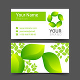 Business cards design leaves green tree vector
