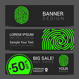 ID app icon. Fingerprint banner vector illustration