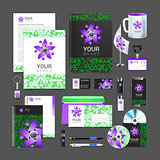set of corporate identity elements green black purple color people