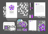 set corporate identity elements gray and purple people logo