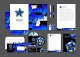 set corporate identity business logo abstract background blue