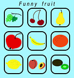 Funny fruit icons set