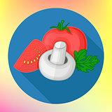 Tomatoes champignon flat vector icon