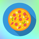 Pizza flat icon long shadow