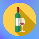 Bottle wine and glass flat vector icon