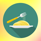 vector spaghetti fork flat icon