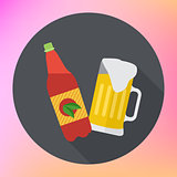 Bottle mug beer flat icon