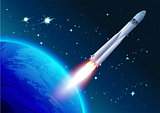 Rocket in space. Cosmonautics Day. Spacecraft flies away from earth