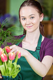 Flower Shop Worker Creating Tulip Arrangement