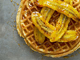 rustic sweet banana waffle with syrup
