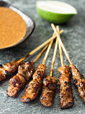 rustic indonesian satay meat skewer