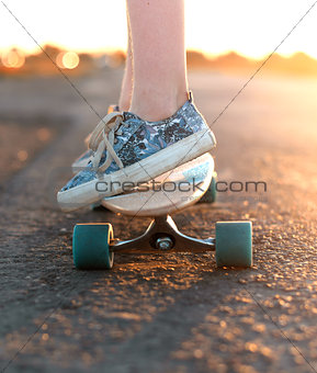 skateboard on the road