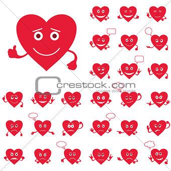Valentine hearts, smileys, set