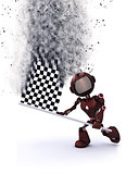 3D robot with chequered flag