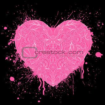 grunge heart on black background