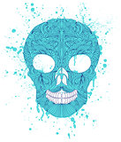 grunge skull on white background.