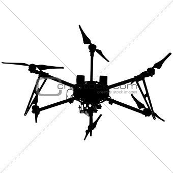 Black silhouette drone quadrocopter, vector illustration.
