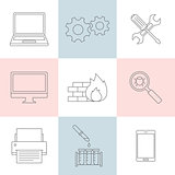 Computer service outline icons