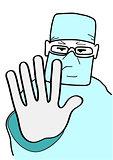 Doctor stops gesture