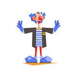 Circus Blue Clown Performing